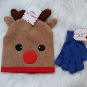 Reindeer Beanie and Blue Knit Gloves